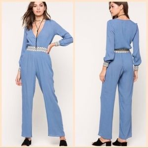 NWOT A'gaci ~ Fabulous Blue Boho Jumpsuit …